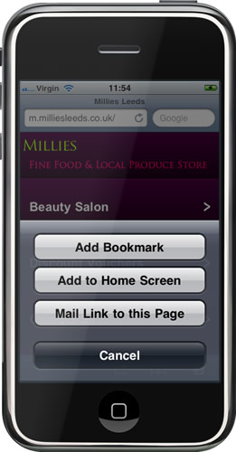Mobile Millies Leeds : Add to Home Screen