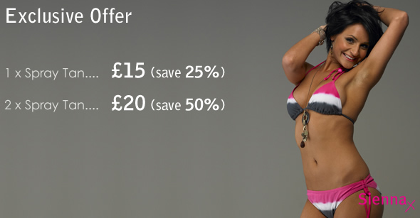 1 x Spray Tan for £15 (save 25%) or 2 x Spray Tan for £20 (save 50%)