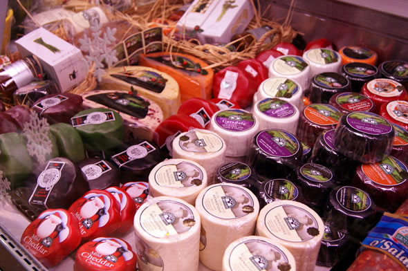 Selection of Snowdonia & Wensleydale cheese truckles available at our Cheese Deli Counter