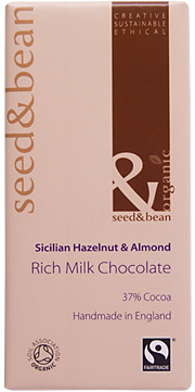 Organic Fairtrade Scicilian Hazelnut and Almond Milk Chocolate Bar