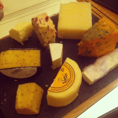 Just a little cheese board tonight. Trying some of our new cheeses from the Cheshire Cheese Company.